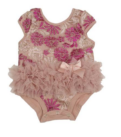 Popatu Baby Tutu Bodysuit Dusty Pink Floral - Popatu pageant and easter petti dress