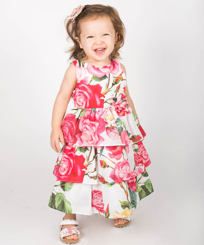 Popatu Little Girls Hot Pink Flower Dress - Popatu pageant and easter petti dress