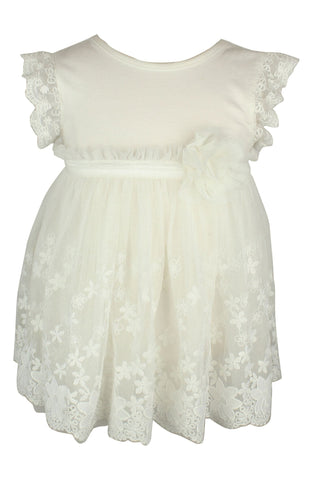 Ivory Baby Onesie with tulle Flower Embroidered Overlay - Popatu pageant and easter petti dress