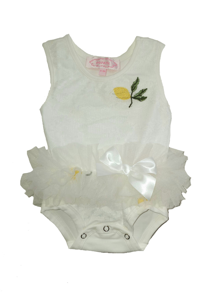 Baby Girl's Lace Overlay Bodysuit with Embroidered Yellow Fruit