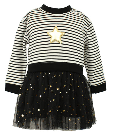 Baby Girl's Stripe Dress with Golden Stars