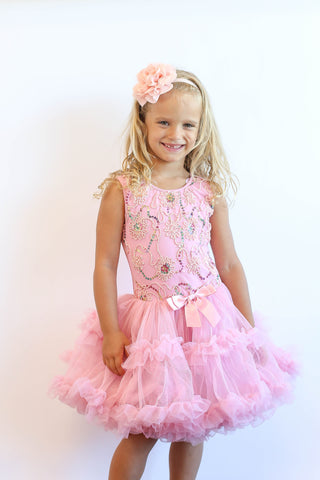 Popatu Little Girls Dusty Pink Sequin Ruffle Dress - Popatu pageant and easter petti dress