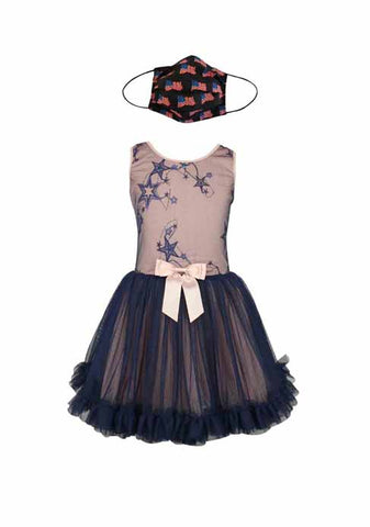 NAVY PETTI DRESS + USA BLUE FABRIC FACE MASK-2PCS
