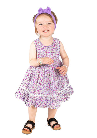 Popatu Baby Girls Purple Floral Dress
