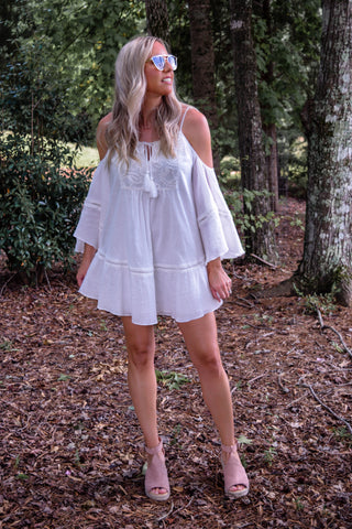 Tessa White Embroidered Cold Shoulder Free the Roses Dress