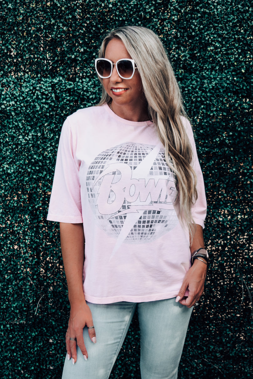 Bowie Crystal Pink Disco Bolt Boxy Tee