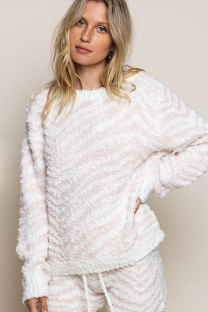 Cypress Point White/Blush Lounge Sweater