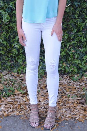 St. Moritz Distressed White Skinny Jeans