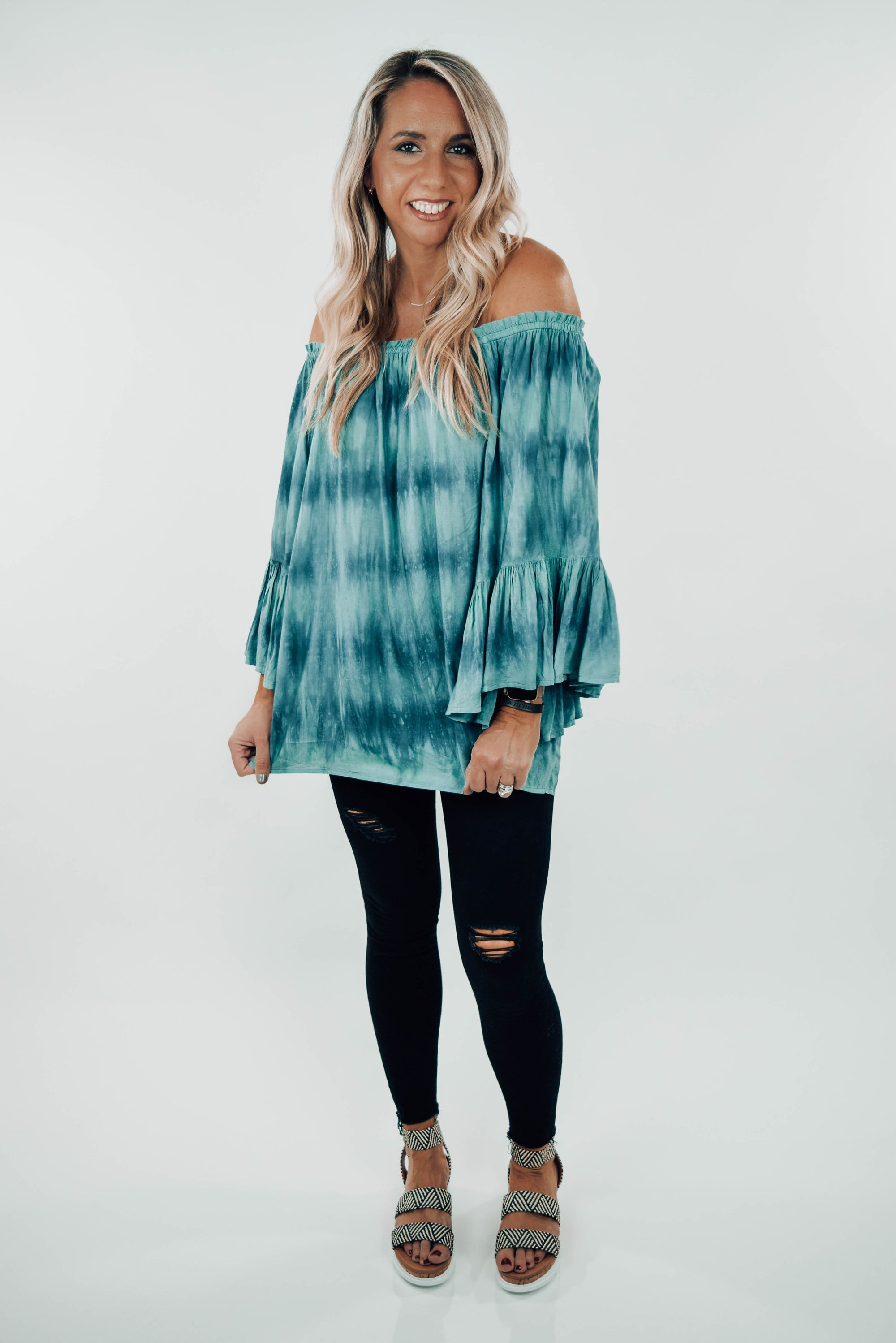 Elizabeth Off-Shoulder Tie Dye Tunic