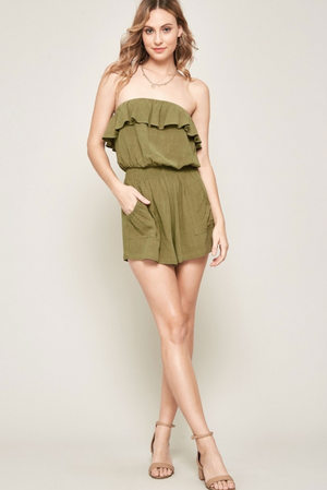 Fair Game Olive Ruffle Romper