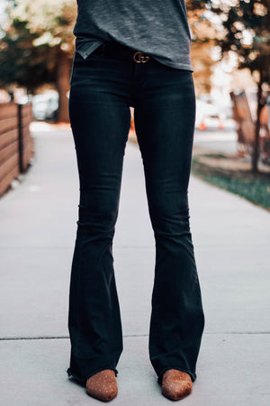 Faith Stevens Black Denim Flare Jeans