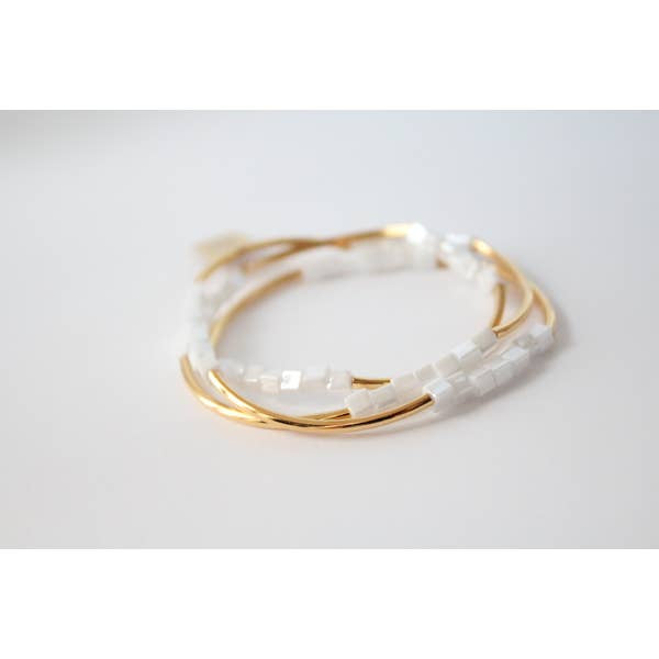 Cecelia Gold & White Triple Wrap Bracelet