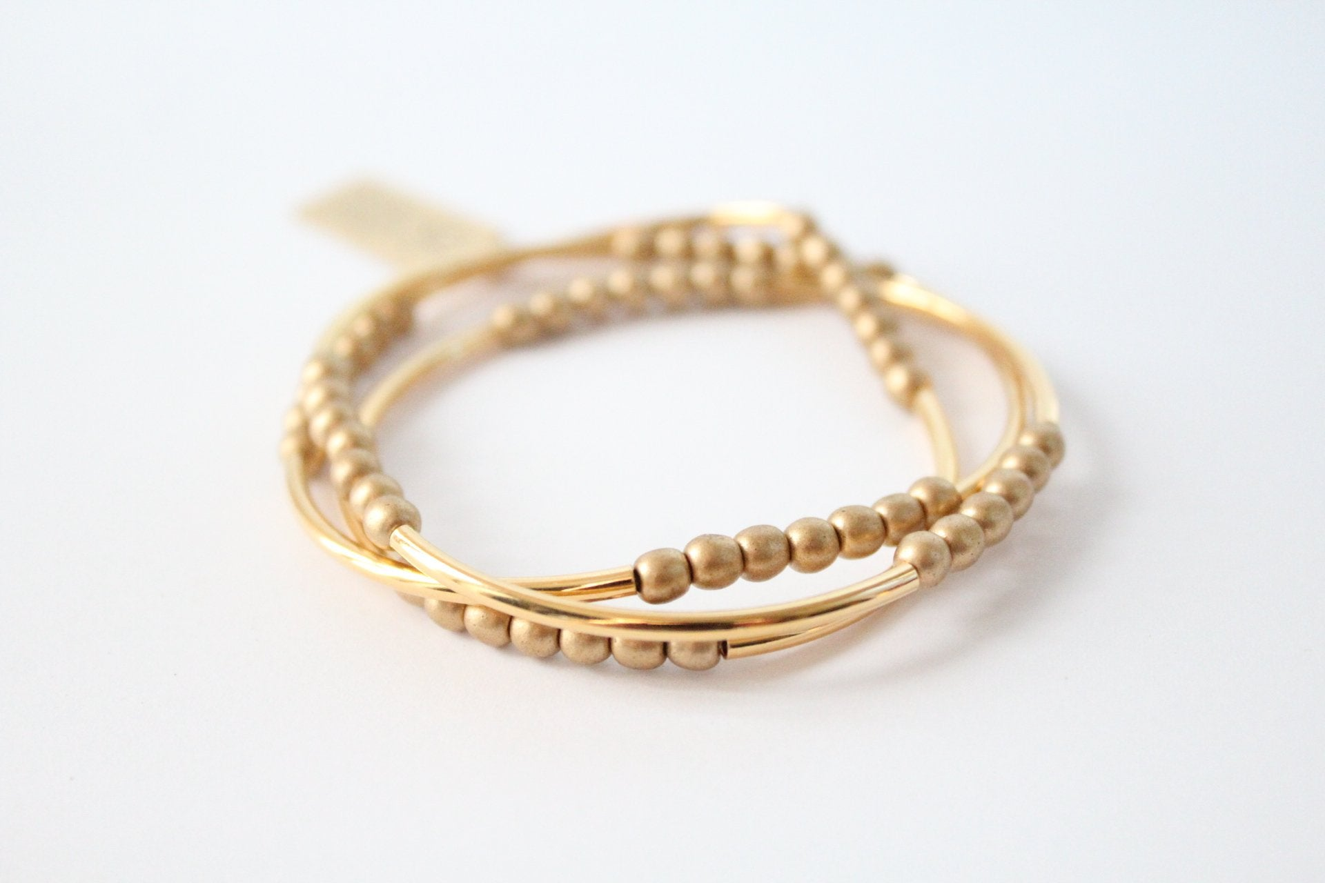 Gold Tube + Gold Triple Wrap Bracelet