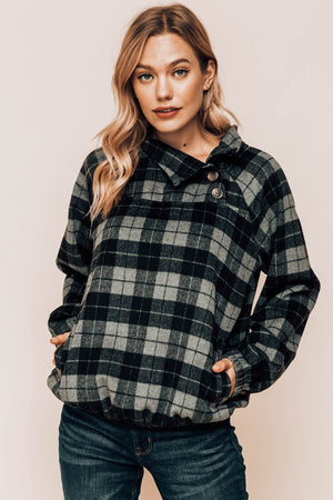 Harper Plaid Button Neck Pullover Front