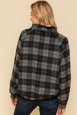Harper Plaid Button Neck Pullover Back