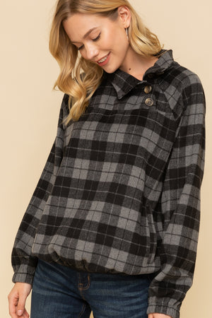 Harper Plaid Button Neck Pullover Product