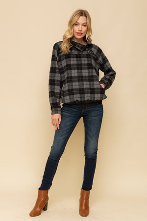 Harper Plaid Button Neck Pullover Full