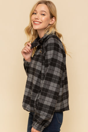 Harper Plaid Button Neck Pullover Profile 2
