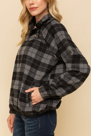Harper Plaid Button Neck Pullover Profile