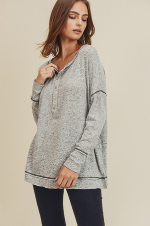 Hit the Slopes Brushed Henley Top