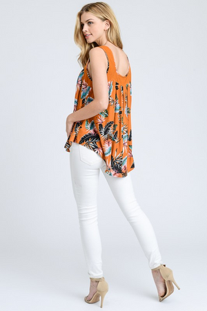 Ibiza Tropical Print Sleeveless Top back
