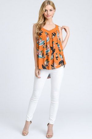 Ibiza Tropical Print Sleeveless Top front