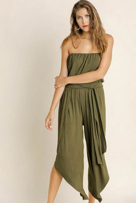 Indio Olive Split Leg Jumpsuit