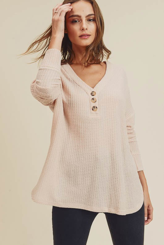 Isabella Waffle Knit Thermal Henley Top
