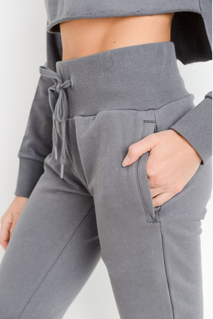 Jetsetter High-Waisted Grey Joggers