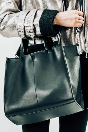 Kylie Black Handbag modeled