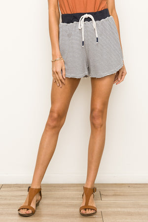Lake Daze Striped Terry Lounge Shorts Front