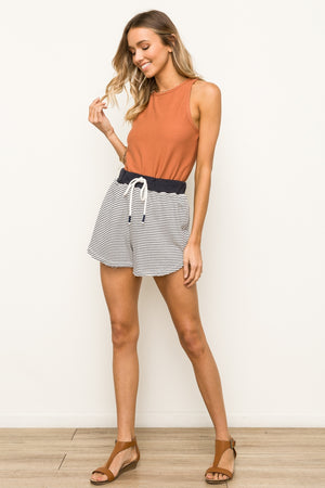 Lake Daze Striped Terry Lounge Shorts Full