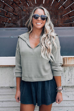 Lennox Olive Collared Waffle Top