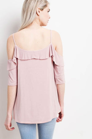 Make Me Blush Cold-Shoulder Ruffle Top back