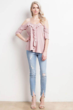 Make Me Blush Cold-Shoulder Ruffle Top full