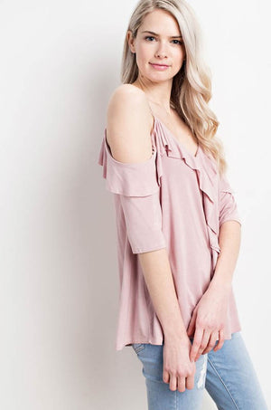 Make Me Blush Cold-Shoulder Ruffle Top profile