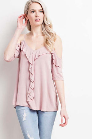 Make Me Blush Cold-Shoulder Ruffle Top style