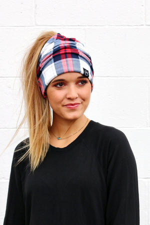 Cozy Plaid Messy Bun Beanie