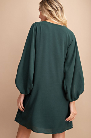 Minted V-Neck Bubble Sleeve Dress