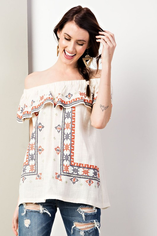 Morning in Madrid Embroidered Off-Shoulder Blouse