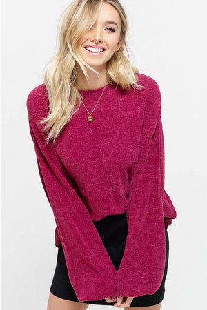 Mulled Wine Puff Sleeve Chenille Sweater