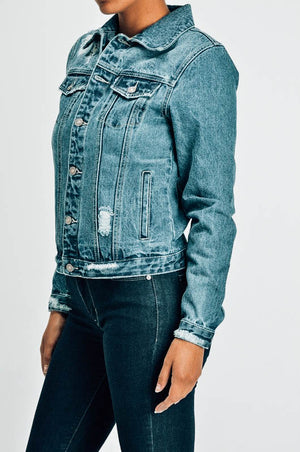 No Stress Distressed Denim Jacket