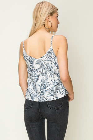 Oia Leaf Print Button Front Top Back