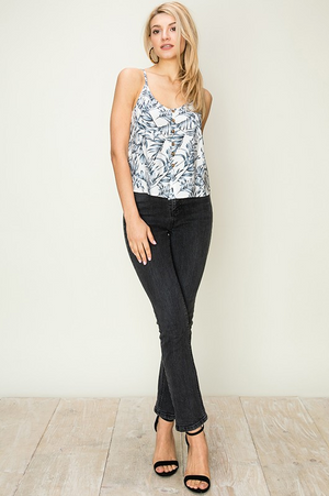 Oia Leaf Print Button Front Top Full