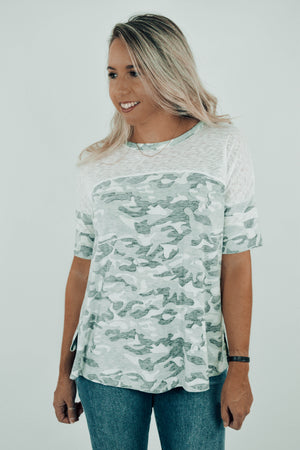 Out to the Ballgame Burnout Camo Tee Front
