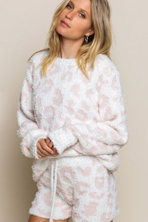 Pebble Beach White and Pink Leopard Sweater