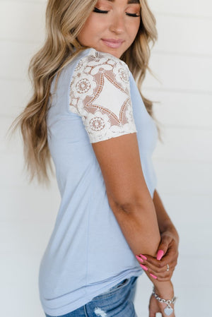 Periwinkle Lace Sleeve Tee back
