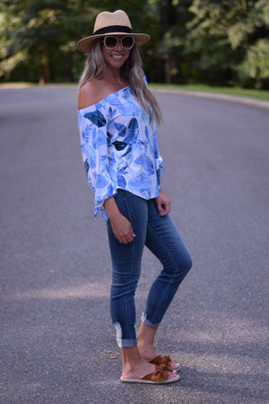 Perla Palm Off-Shoulder Top