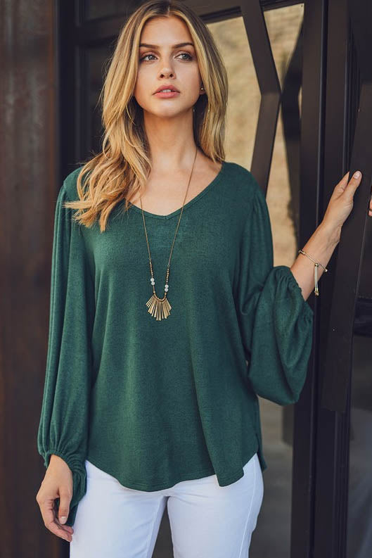 Pine Mountain Balloon Sleeve Top
