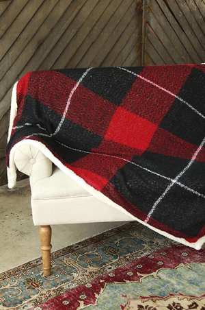 Plaid Sherpa Throw Blanket Detail